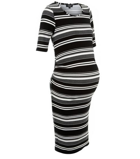 Maternity Black Stripe 1/2 Sleeve Dress | New Look