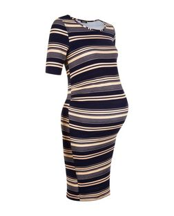 Maternity Blue Stripe 1/2 Sleeve Dress | New Look
