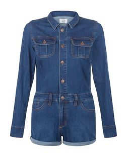 Blue Double Pocket Denim Playsuit  | New Look