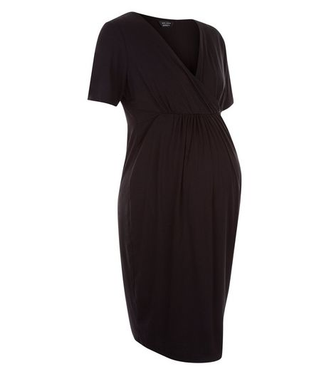 Maternity Black Wrap Front Mini Dress  | New Look