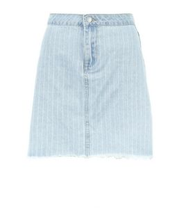 Pale Blue Stripe Fray Hem Denim Skirt  | New Look