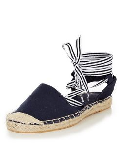 Teens Navy Stripe Lace Up Espadrille Sandals | New Look