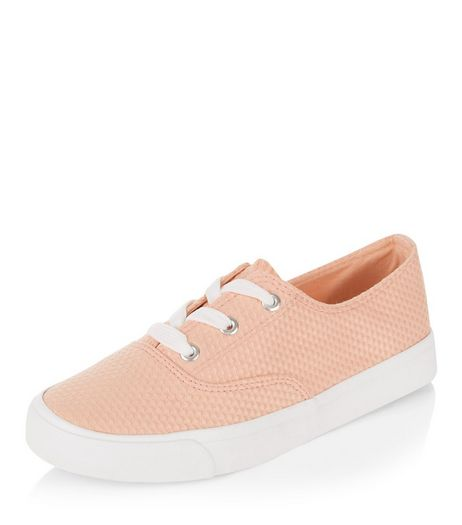 Teens Coral Textured Lace Up Plimsolls  | New Look