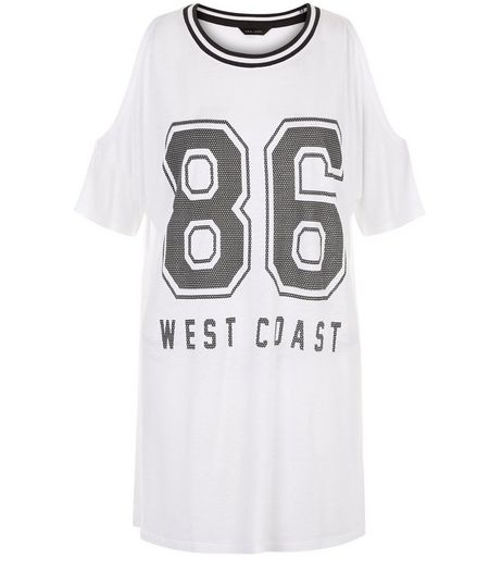 White 86 Cold Shoulder Baseball T-Shirt  | New Look
