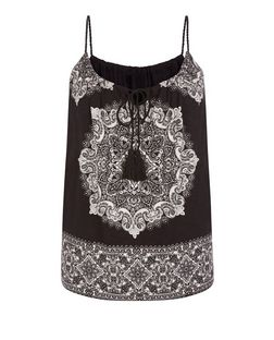 Black Abstract Print Rope Strap Cami  | New Look