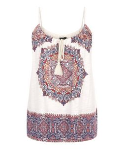 White Abstract Print Rope Strap Cami  | New Look