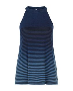 Blue Stripe Dip Dye High Neck Cami  | New Look