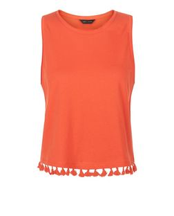 Bright Orange Tassel Trim Sleeveless Top  | New Look