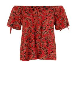 Red Floral Print Bardot Neck Gypsy Top  | New Look