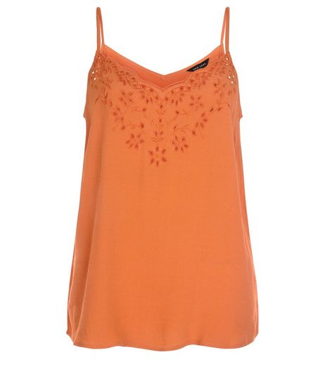 Orange Crochet Trim Cami  | New Look