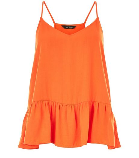 Orange V Neck Peplum Cami | New Look