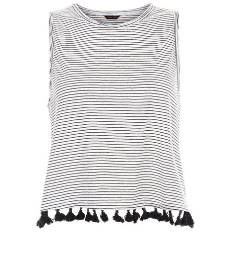 White Stripe Tassel Hem Vest  | New Look