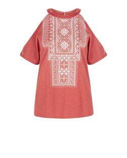 Mid Pink Aztec Print Cold Shoulder T-Shirt  | New Look
