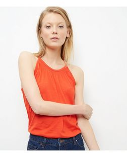 Bright Orange Shirred High Neck Vest  | New Look
