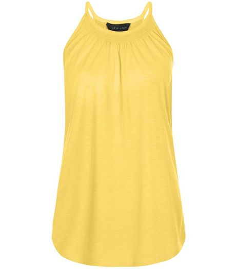 Yellow Shirred High Neck Vest  | New Look