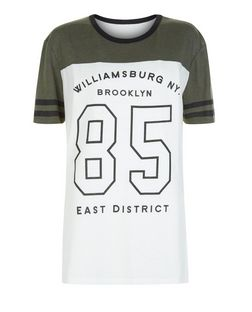 White Colour Block Brooklyn 85 Baseball T-Shirt  | New Look
