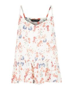 White Floral Print Peplum Cami  | New Look