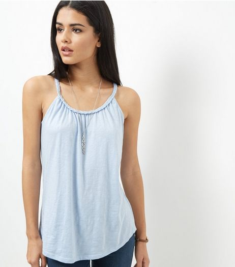 Pale Blue Plaited Trim Vest  | New Look