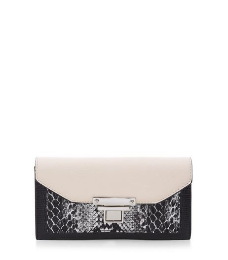 Black Snakeskin Print Panel Purse  | New Look