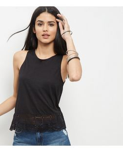 Black Broderie Hem Sleeveless Top | New Look