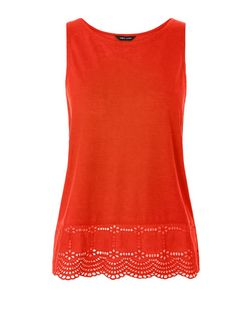 Bright Orange Broderie Hem Sleeveless Top | New Look