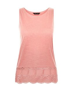 Coral Broderie Hem Sleeveless Top | New Look