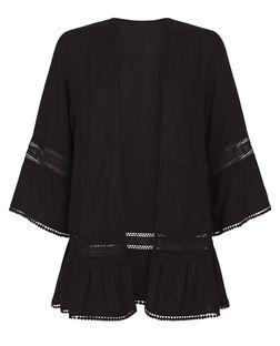 Black Crochet Trim Flutter Sleeve Kimono  | New Look