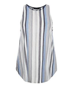 White Stripe High Neck Vest  | New Look