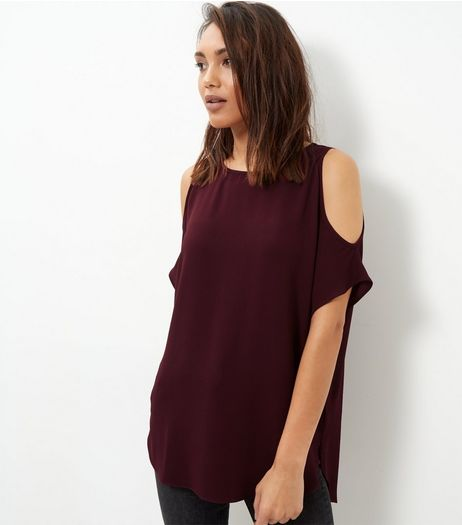 Dark Purple Cold Shoulder T-Shirt  | New Look