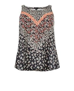 Curves Black Floral Print Lattice Back Top | New Look
