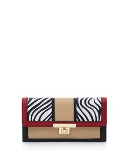 Black Zebra Print Colour Block Purse  | New Look