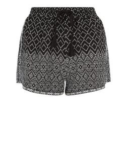 Black Tile Print Runner Shorts  | New Look