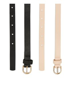 2 Pack Black and Stone Floral Cut Out Belts  | New Look