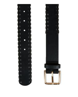 Black Stitch Trim Belt | New Look