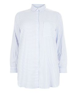 Curves White Stripe Pocket Long Sleeve Shirt | New Look