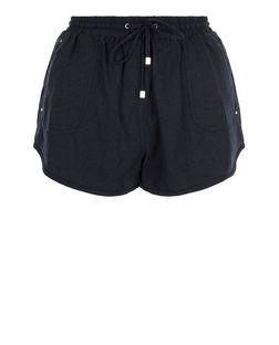 Navy Linen Stud Pocket Runner Shorts  | New Look