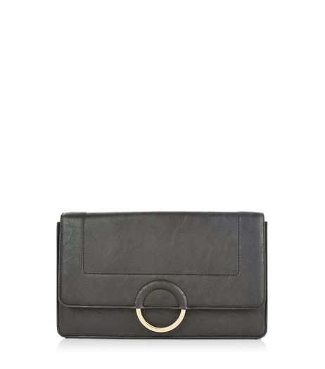 Black Structured Clutch  | New Look