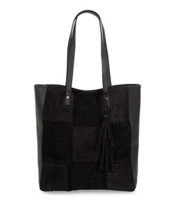 Black Crochet Panel Leather-Look Shopper Bag | New Look