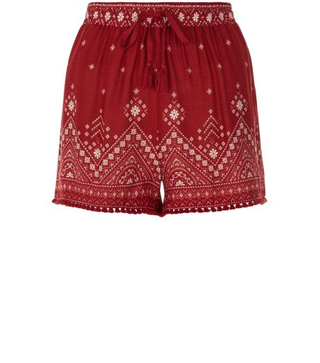 Red Aztec Print Tassel Trim Shorts  | New Look