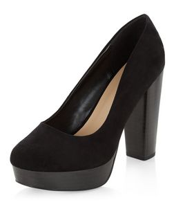 Wide Fit Black Suedette Chunky Platform Heels  | New Look