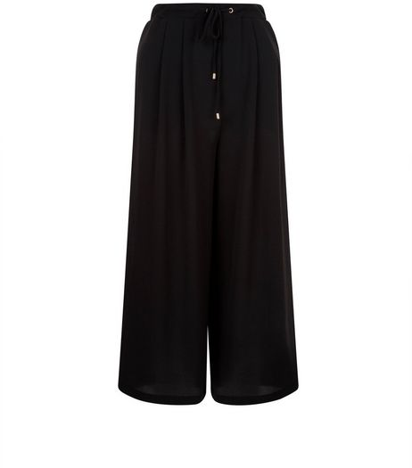Black Drawstring Waist Culottes  | New Look