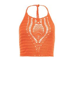 Bright Orange Crochet Halter Neck Crop Top  | New Look