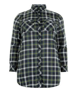 Plus Size Blue Check Long Sleeve Shirt  | New Look