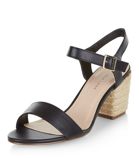 Wide Fit Black Espadrille Block Heel Sandals  | New Look