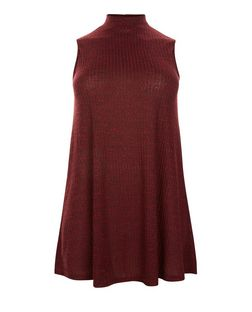 Plus Size Fine Knit Funnel Neck Swing Dress  | New Look