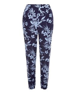 Blue Floral Tropical Print Joggers  | New Look