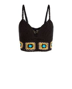 Black Crochet Tile Panel Bralet  | New Look
