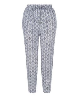 Petite Blue Tile Print Trousers | New Look