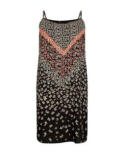 Plus Size Black Floral Print Slip Dress | New Look
