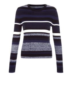 Blue Stripe Space Dye Jumper  | New Look